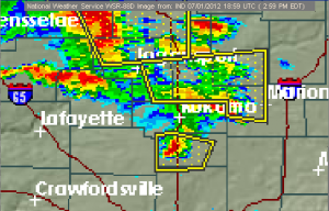 Radar image with severe thunderstorm warning polygons. The shape of the middle polygon is influenced by the boundary between county warning areas