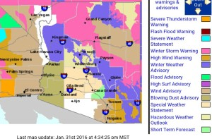 Watch, Warning, Advisory map of Arizona from January 31, 2016. Image capture via Rob Dale (@therobdale).