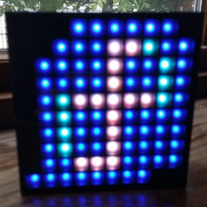The front of the AuraBox, displaying my attempt at recreating the Fedora logo.