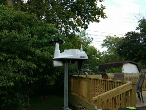 Picture of a Davis Vantage Vue weather station mounted on a pole.