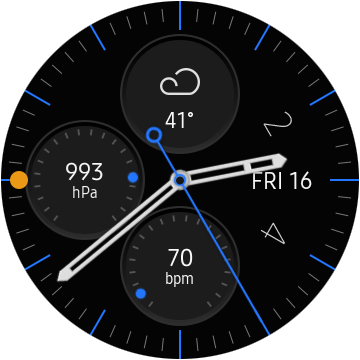 """A screen capture of the """"Analog Utility"""" face for the Samsung Watch, including weather, barometer, and heart rate complications."""